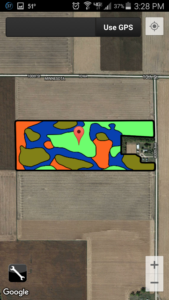 Mobile App 1: View Zone Map with GPS Position within field